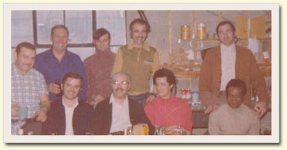 Christmas gathering, 1974.  Lea Hardy & Company Ltd. staff wearing younger mens' clothes!